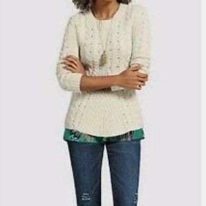 Cabi Cream Knit Chunky Sweater M